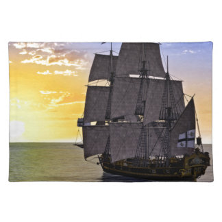 A Black Corvette Sailing Ship and the Setting Sun Placemat