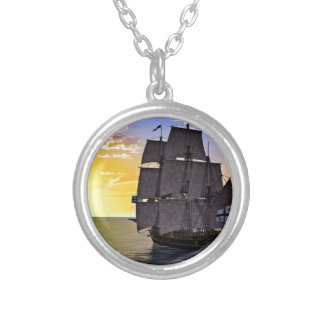 A Black Corvette Sailing Ship and the Setting Sun Silver Plated Necklace