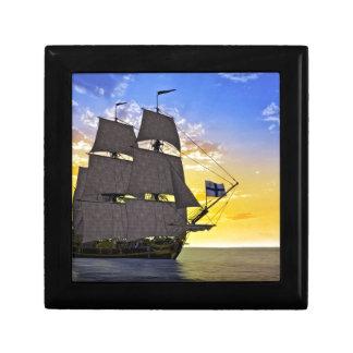 A Black Corvette Sailing Ship Before the Sun Gift Box