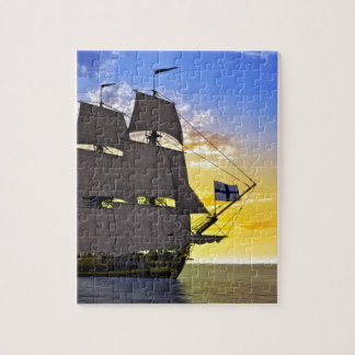 A Black Corvette Sailing Ship Before the Sun Jigsaw Puzzle