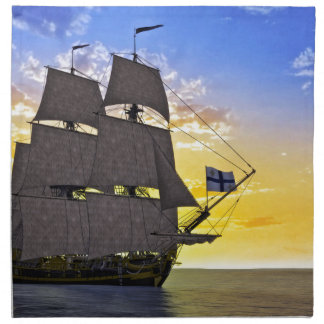 A Black Corvette Sailing Ship Before the Sun Napkin