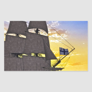 A Black Corvette Sailing Ship Before the Sun Rectangular Sticker