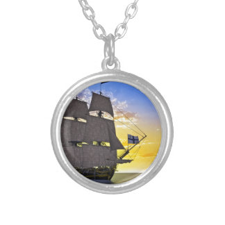 A Black Corvette Sailing Ship Before the Sun Silver Plated Necklace
