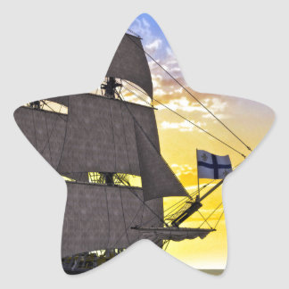 A Black Corvette Sailing Ship Before the Sun Star Sticker