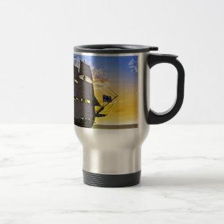 A Black Corvette Sailing Ship Before the Sun Travel Mug