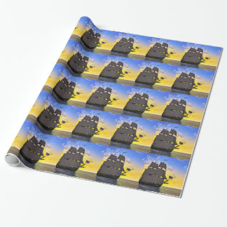 A Black Corvette Sailing Ship Before the Sun Wrapping Paper