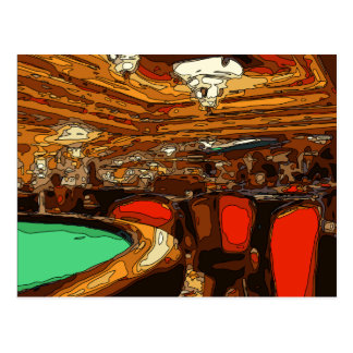 A Black Jack Table in the heart of a Vegas Casino Post Cards