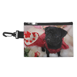 A Black Pug in a Red Dress with Cake Accessory Bags