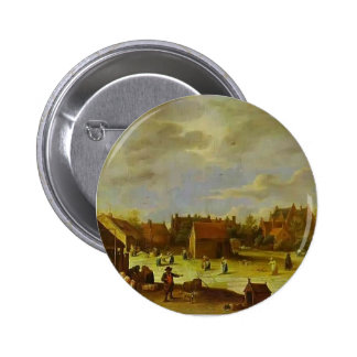 A Bleaching Ground by David Teniers the Younger Pinback Buttons