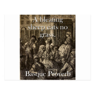 A Bleating Sheep Eats - Basque Proverb Postcard