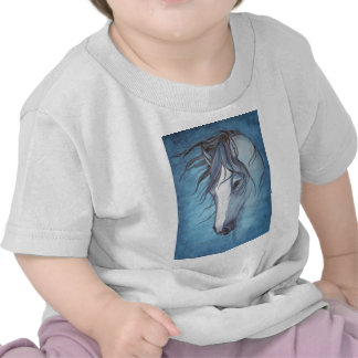 A blue roan horse in the wind shirts