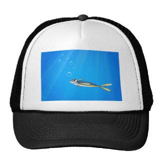 A blue yellow fish under the sea cap