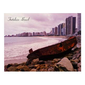 A boat wreck on the beach. Fortaleza, Brazil Postcard