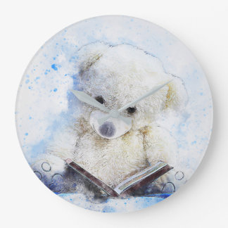 A Book at Bedtime - cute teddy bear design Large Clock