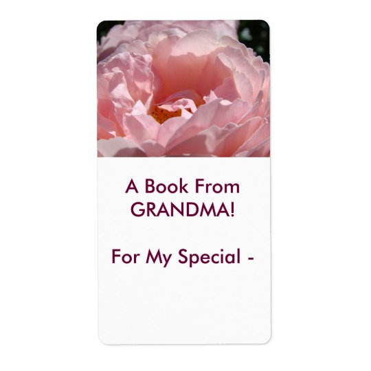 A Book from GRANDMA! Rose Book Gift Tags To Shipping Label