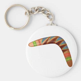 A boomerang basic round button keychain
