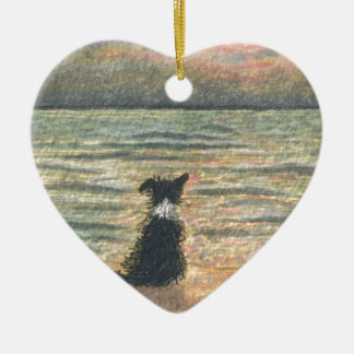 A Border Collie dog says hello to the morning Ceramic Ornament