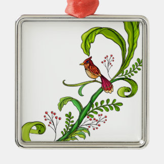 A border with a bird square metal christmas ornament