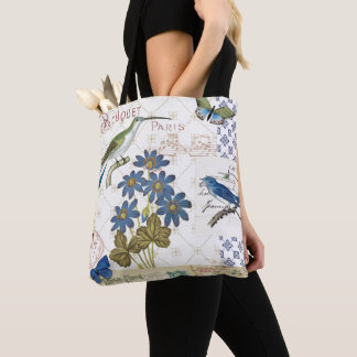 A Bouquet of Blue Flowers, Birds and Butterflies Tote Bag