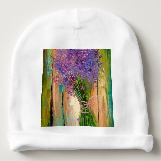 A bouquet of lavender baby beanie