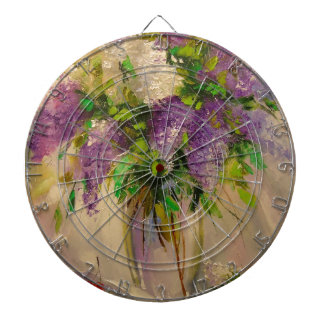 A bouquet of lilacs dartboard with darts