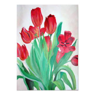 A Bouquet of Red Tulips 13 Cm X 18 Cm Invitation Card