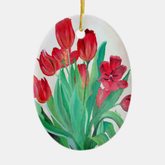 A Bouquet of Red Tulips Ceramic Oval Decoration
