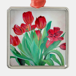 A Bouquet of Red Tulips Silver-Colored Square Decoration