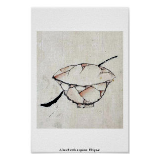 A bowl with a spoon Ukio-e Poster