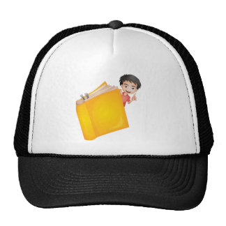 A boy and a book trucker hat