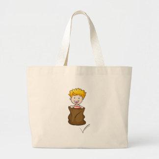 a boy and burlap jumbo tote bag