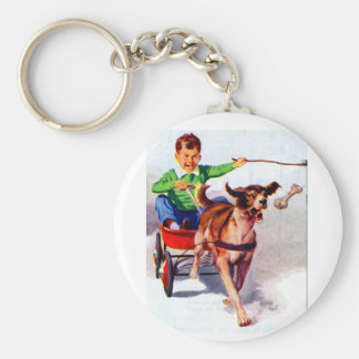 A boy and his dog cart basic round button key ring