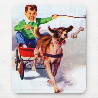 A boy and his dog cart mouse pad
