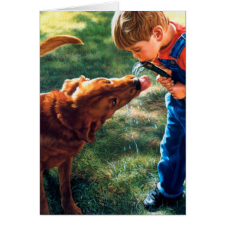 A Boy and his Dog Water Hose Thirst Colorful Greeting Card