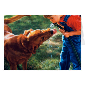 A Boy and his Dog Water Hose Thirst Colorful Note Card