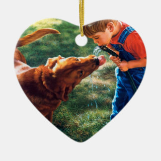 A Boy and his Dog Water Hose Thirst Colorful Ceramic Heart Decoration