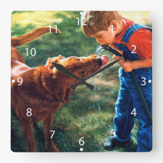 A Boy and his Dog Water Hose Thirst Colorful Clock