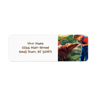 A Boy and his Dog Water Hose Thirst Colorful Return Address Label