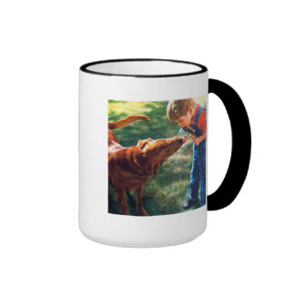 A Boy and his Dog Water Hose Thirst Colorful Ringer Coffee Mug