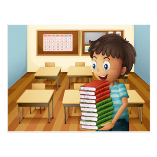 A boy carrying a pile of books postcard