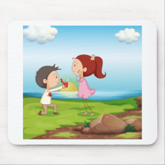 A boy making a marriage proposal at the riverbank mouse pad