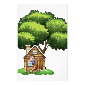 A boy playing outside the house under the tree stationery design