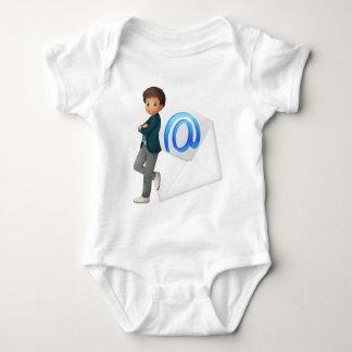 a boy with mail envelop tshirt