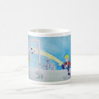 A boy's first goal playing football coffee mug
