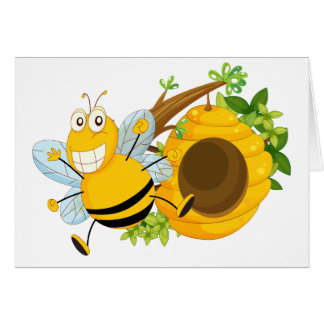 A branch of a tree with a beehive and a bee greeting card