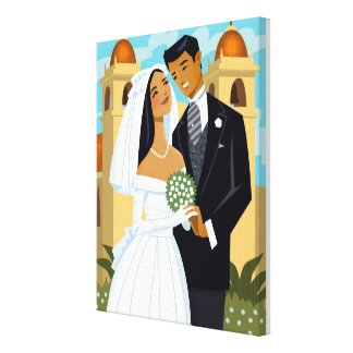 A Bride and Groom Canvas Print
