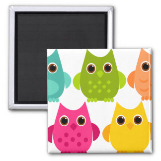 A Bright Bunch of Owls Refrigerator Magnet