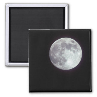 A bright full moon in a black night sky. square magnet