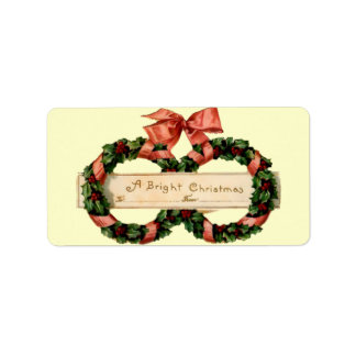 A Bright Vintage Christmas Present Gift Tag Address Label