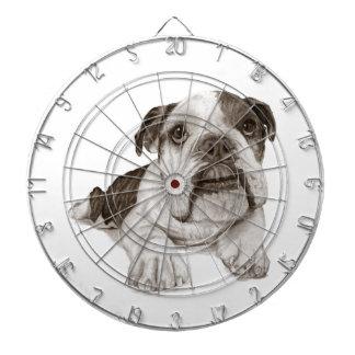 A Brindle Bulldog Puppy Dartboard